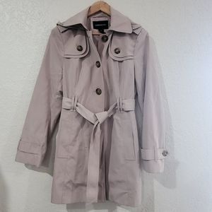 London Fog Tan Hooded Trench Coat Size Small